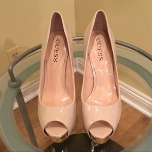 Guess Nude Peep Toe Pumps With Gold Accents